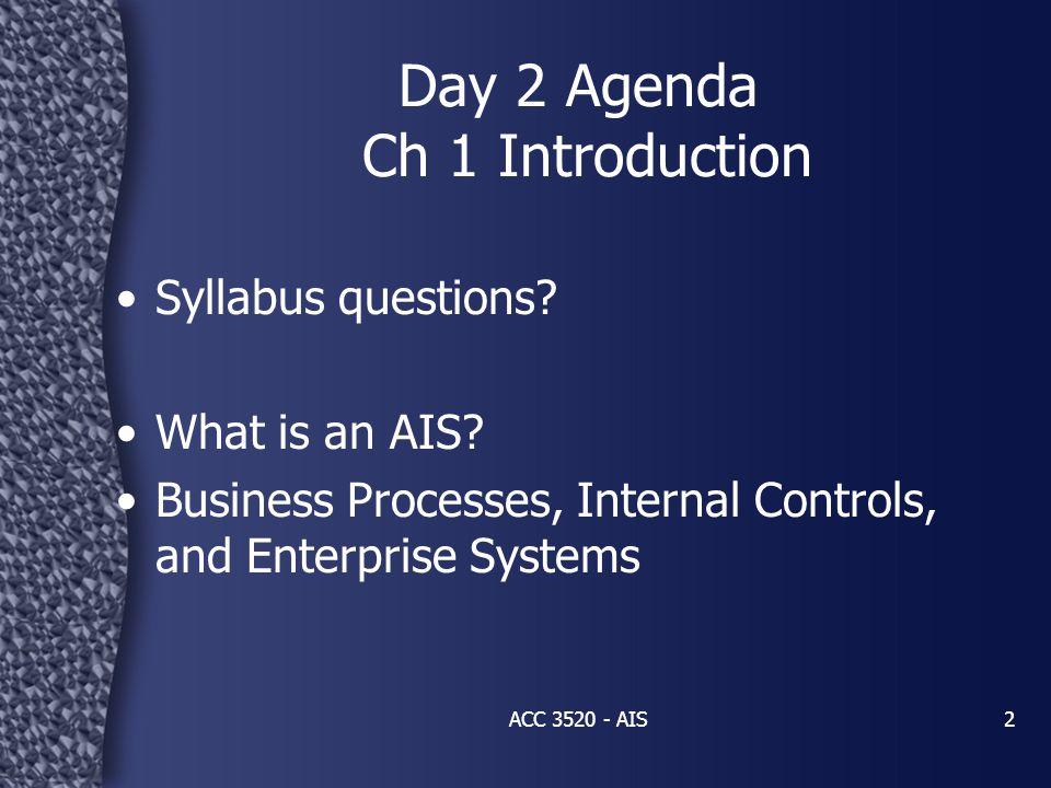 Big Picture of AIS Understanding IS (ch 1 – 3) –AIS / Enterprise Systems / E-business Organizing & Managing Info (ch 4 – 6) –DFD / Flowcharts / DBMS (Normalization, REA, relational DB, SQL) Enterprise Risk Mgmt (ch 7 – 9) –ERM / COSO / COBIT / Controls: Pervasive, General, Application / Control Matrix Business Processes (ch 10 – 15) ACC 3520 - AIS3