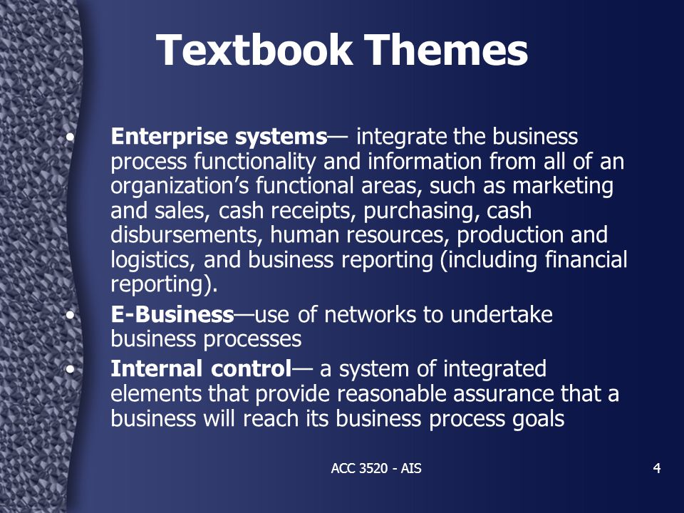 4 Textbook Themes Enterprise systems— integrate the business process functionality and information from all of an organization's functional areas, suc