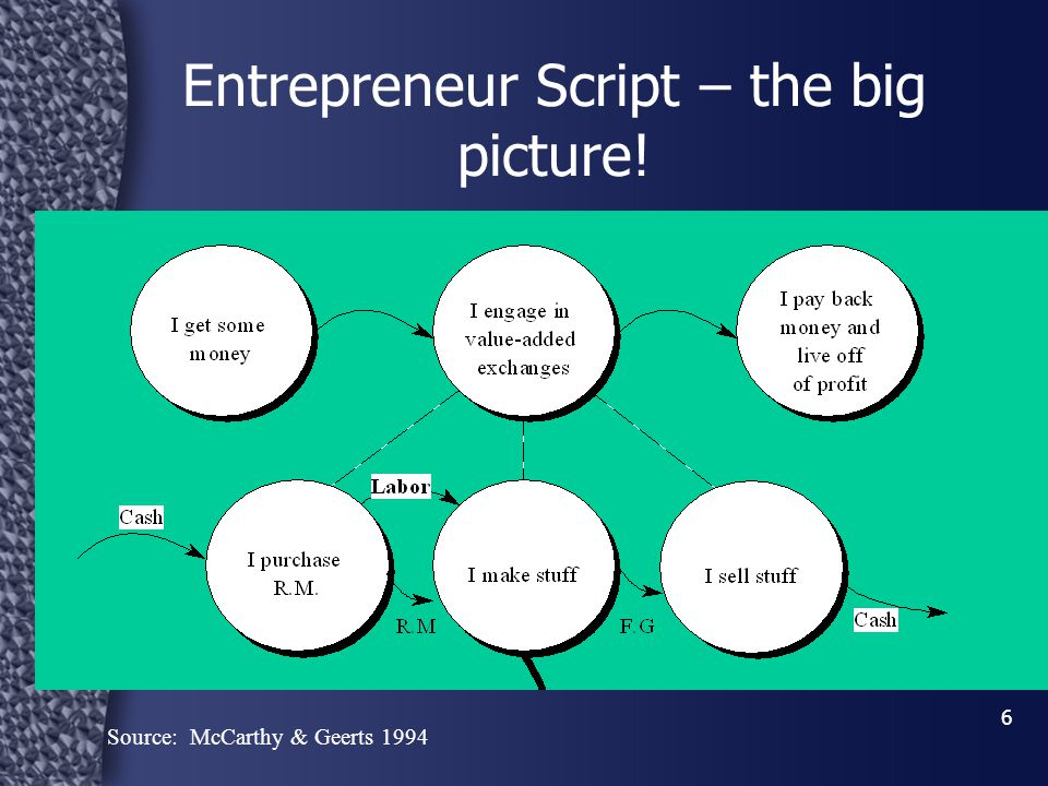 6 Entrepreneur Script – the big picture! Source: McCarthy & Geerts 1994