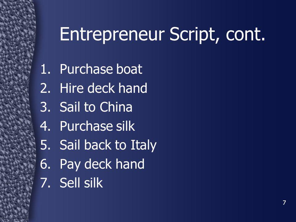 8 Entrepreneur Script, cont.