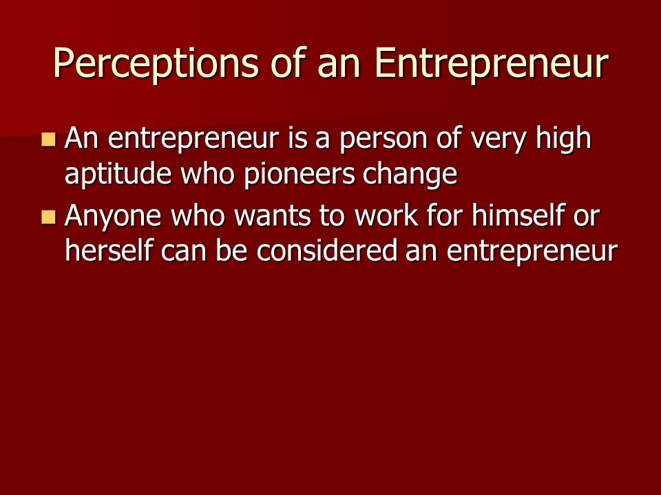 Perceptions of an Entrepreneur An entrepreneur is a person of very high aptitude who pioneers change An entrepreneur is a person of very high aptitude who pioneers change Anyone who wants to work for himself or herself can be considered an entrepreneur Anyone who wants to work for himself or herself can be considered an entrepreneur