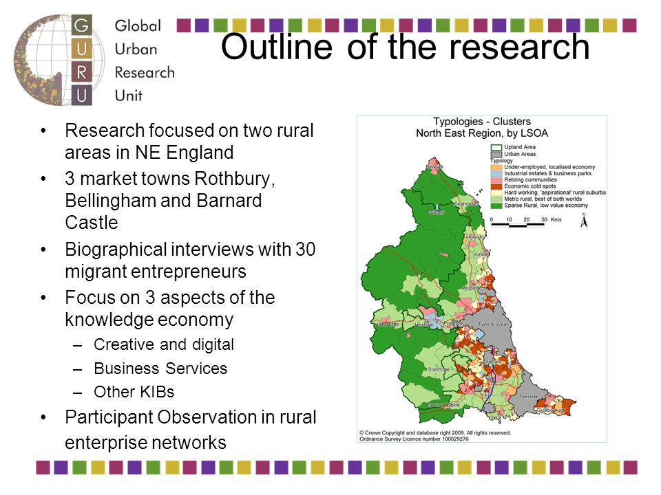 Outline of the research Research focused on two rural areas in NE England 3 market towns Rothbury, Bellingham and Barnard Castle Biographical intervie
