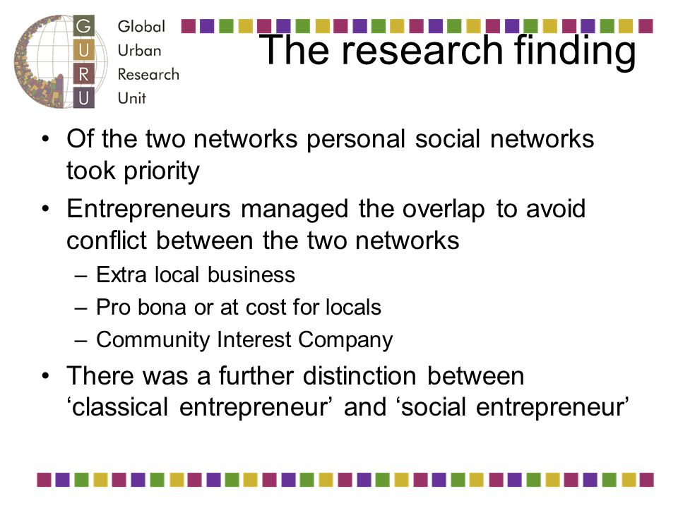 The research finding Of the two networks personal social networks took priority Entrepreneurs managed the overlap to avoid conflict between the two ne