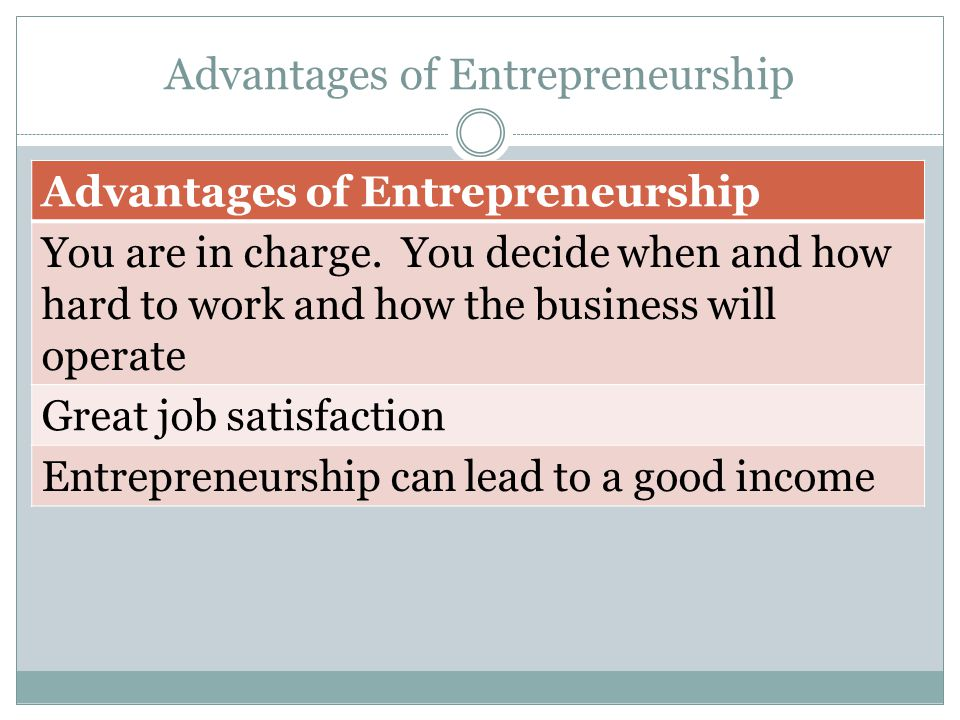 Advantages of Entrepreneurship You are in charge.