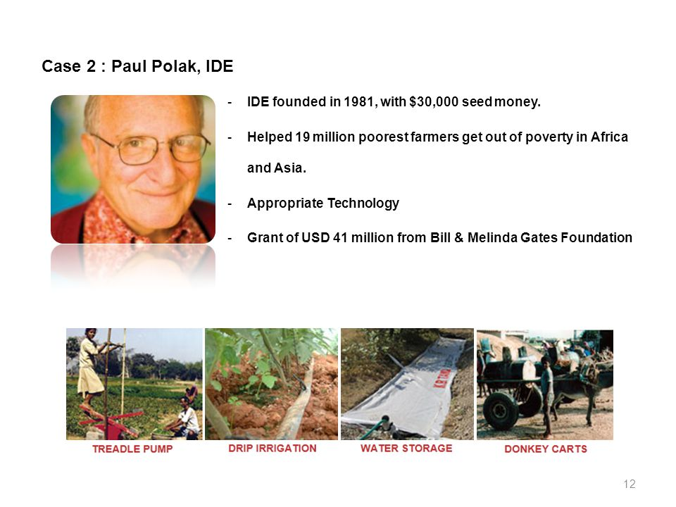 Case 2 : Paul Polak, IDE -IDE founded in 1981, with $30,000 seed money.