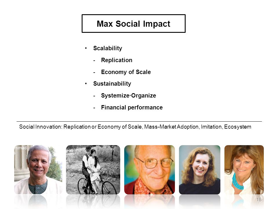 Scalability -Replication -Economy of Scale Sustainability -Systemize∙Organize -Financial performance Max Social Impact Social Innovation: Replication or Economy of Scale, Mass-Market Adoption, Imitation, Ecosystem 18
