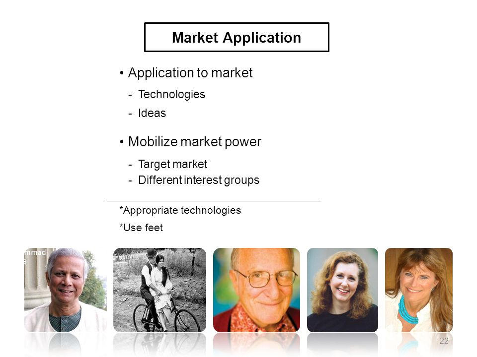 Application to market -Technologies -Ideas Mobilize market power -Target market -Different interest groups *Appropriate technologies *Use feet Market Application 22