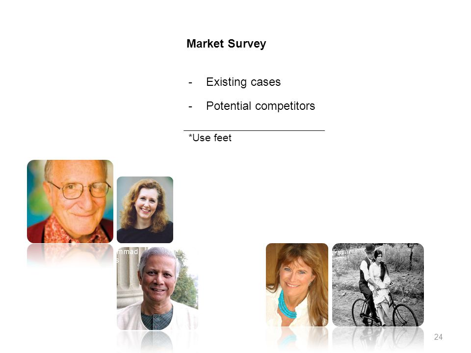 Market Survey -Existing cases -Potential competitors *Use feet 24
