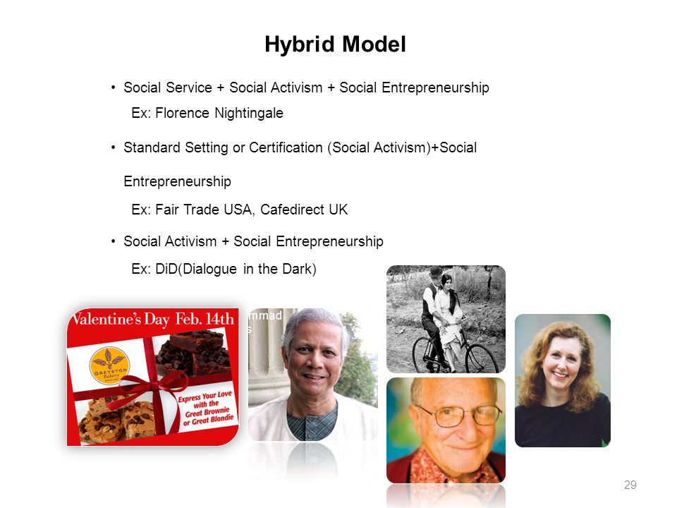 Hybrid Model Social Service + Social Activism + Social Entrepreneurship Ex: Florence Nightingale Standard Setting or Certification (Social Activism)+Social Entrepreneurship Ex: Fair Trade USA, Cafedirect UK Social Activism + Social Entrepreneurship Ex: DiD(Dialogue in the Dark) 29