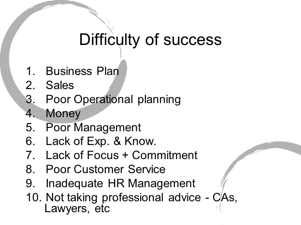 1.Business Plan 2.Sales 3.Poor Operational planning 4.Money 5.Poor Management 6.Lack of Exp.