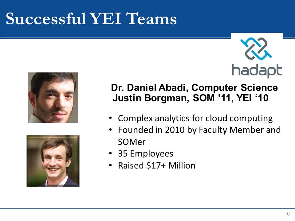 WIP Successful YEI Teams 6 Complex analytics for cloud computing Founded in 2010 by Faculty Member and SOMer 35 Employees Raised $17+ Million Justin Borgman, SOM '11, YEI '10 Dr.