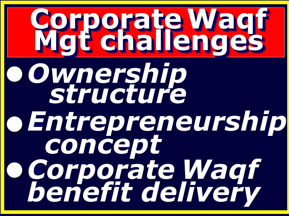 Corporate Waqf Mgt challenges - Corporate Waqf benefit delivery concept - Entrepreneurship - Ownership structure