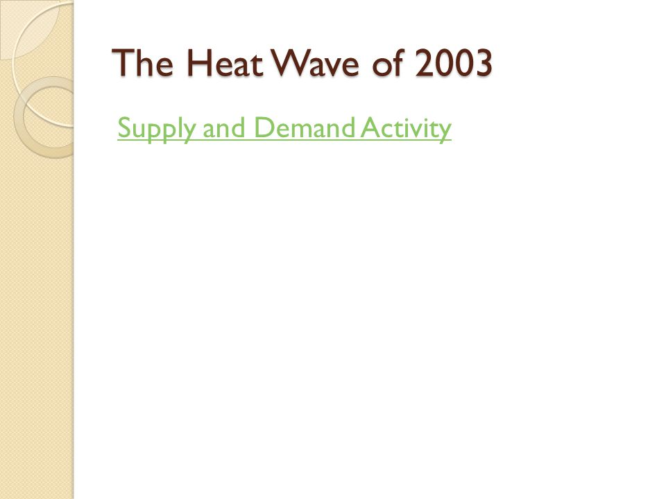 The Heat Wave of 2003 Supply and Demand Activity