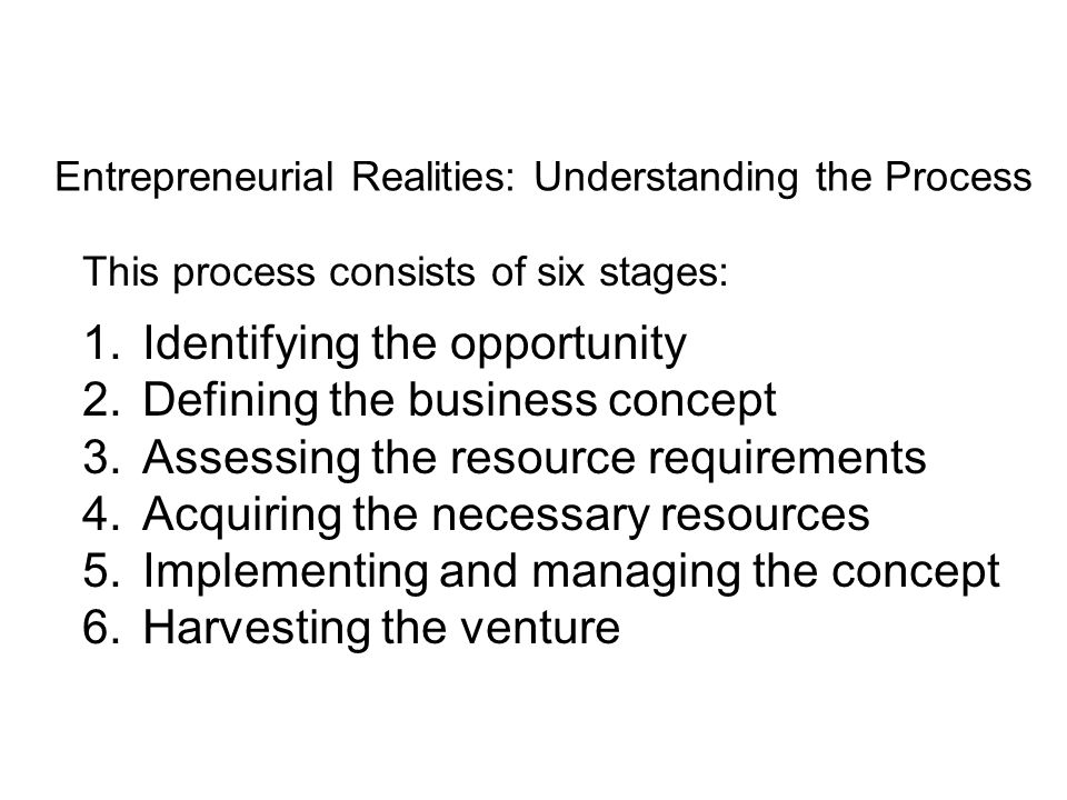 Entrepreneurial Realities: Understanding the Process This process consists of six stages: 1.Identifying the opportunity 2.Defining the business concept 3.Assessing the resource requirements 4.Acquiring the necessary resources 5.Implementing and managing the concept 6.Harvesting the venture
