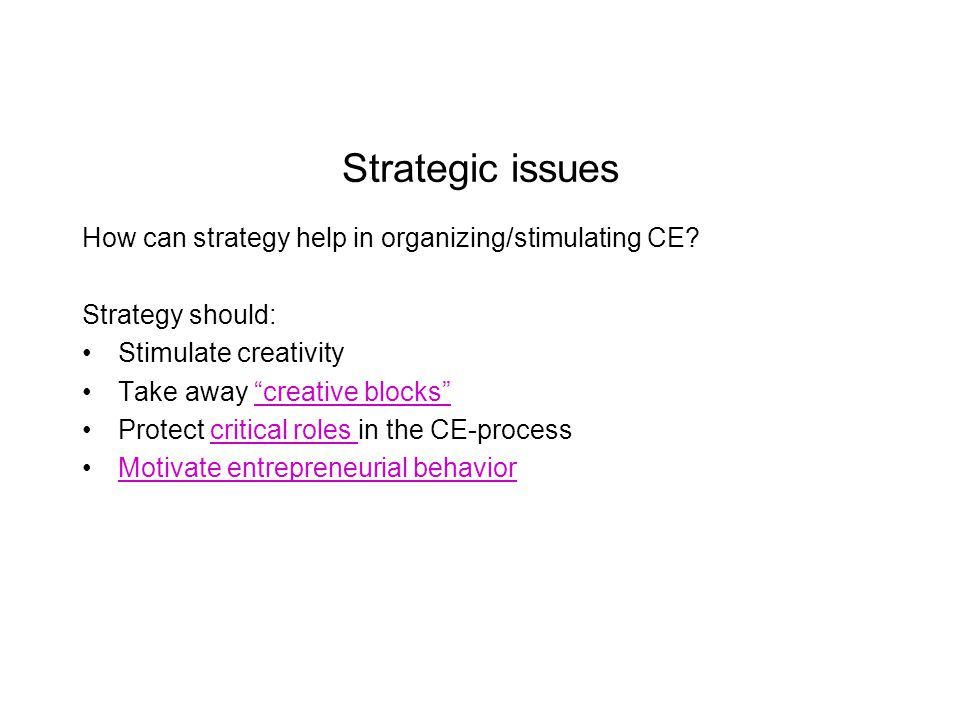 Strategic issues How can strategy help in organizing/stimulating CE.