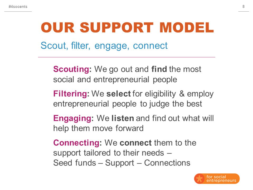 OUR SUPPORT MODEL Scouting: We go out and find the most social and entrepreneurial people Filtering: We select for eligibility & employ entrepreneurial people to judge the best Engaging: We listen and find out what will help them move forward Connecting: We connect them to the support tailored to their needs – Seed funds – Support – Connections Scout, filter, engage, connect 8#4socents