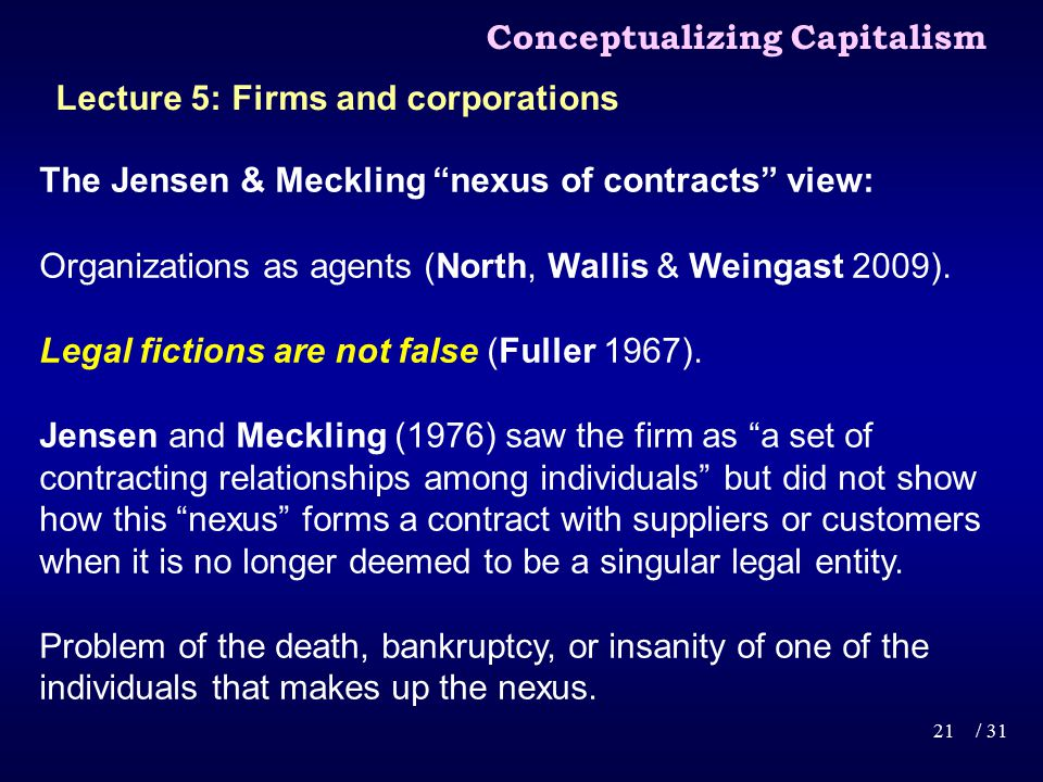 The Jensen & Meckling nexus of contracts view: Organizations as agents (North, Wallis & Weingast 2009).
