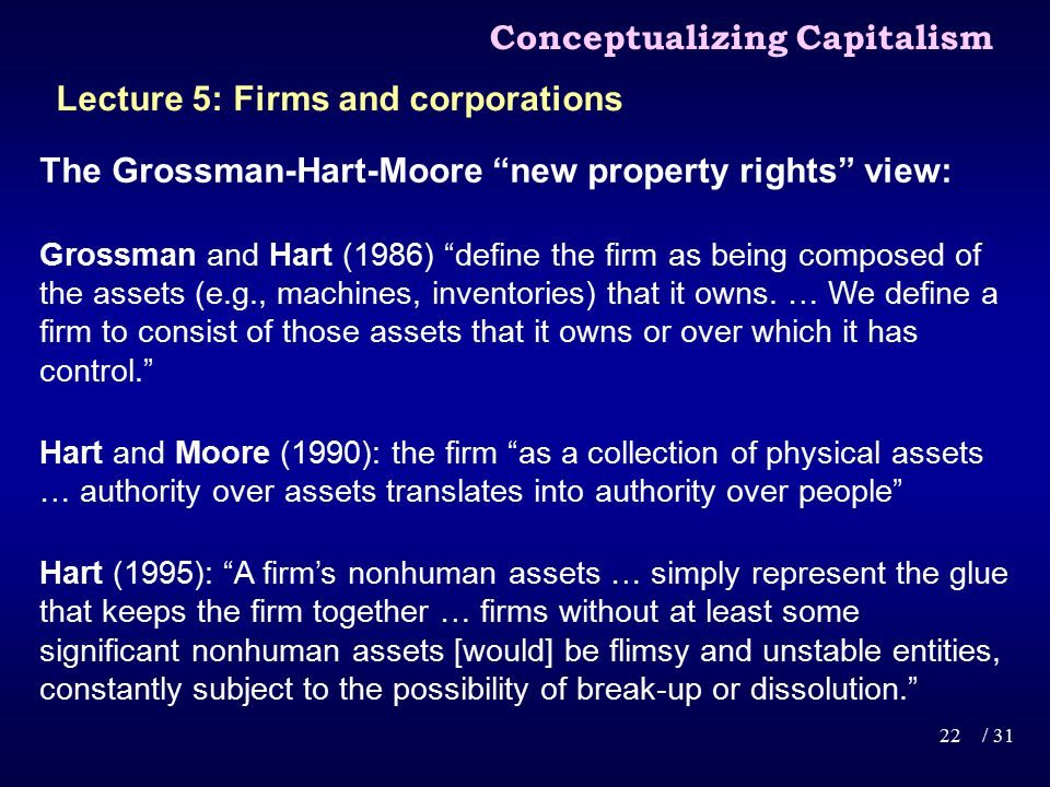 The Grossman-Hart-Moore new property rights view: Grossman and Hart (1986) define the firm as being composed of the assets (e.g., machines, inventories) that it owns.