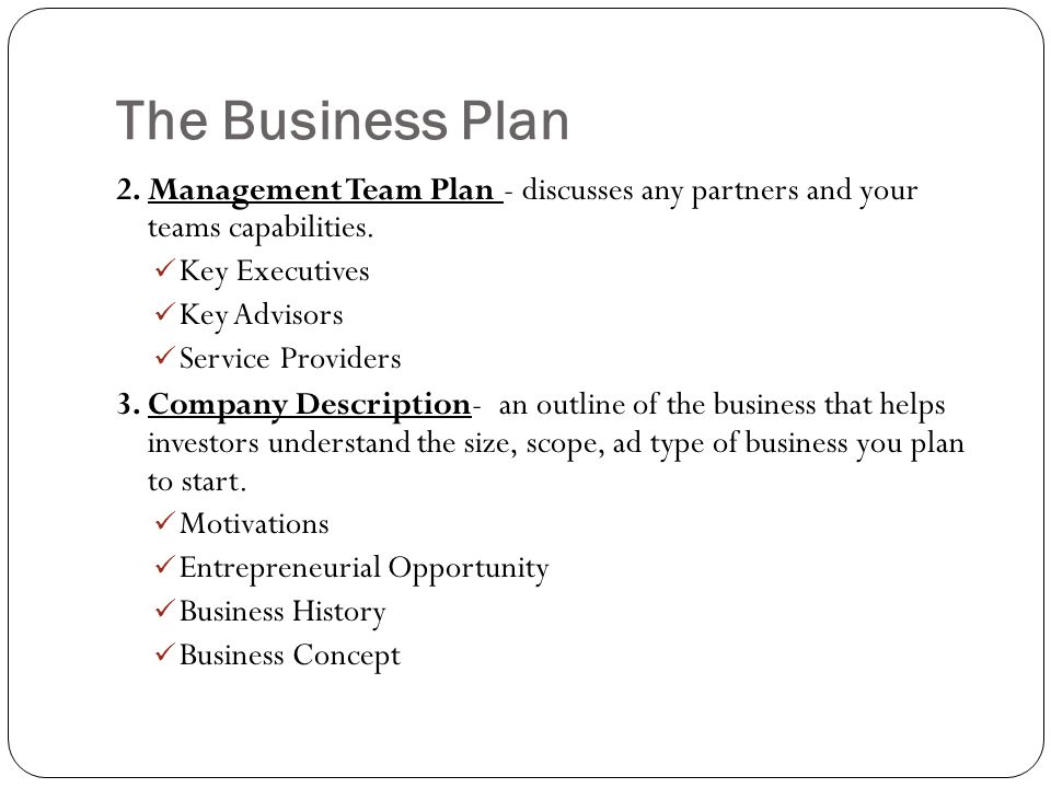 Management Team In A Business Plan