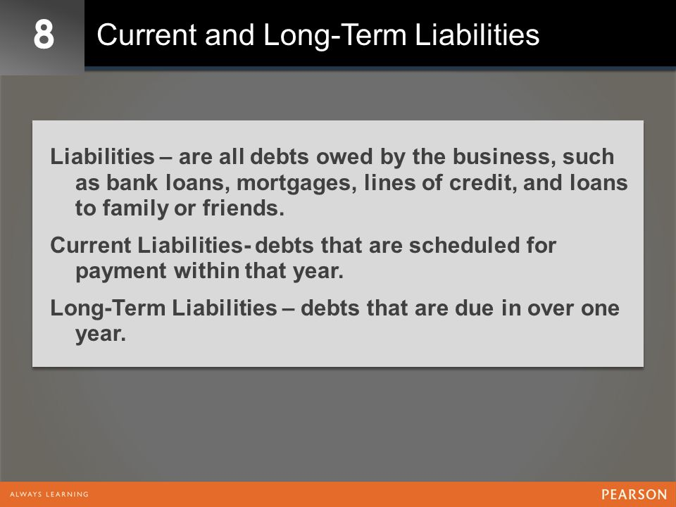 8 Current and Long-Term Liabilities Liabilities – are all debts owed by the business, such as bank loans, mortgages, lines of credit, and loans to fam