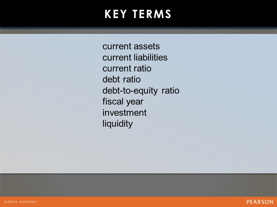 KEY TERMS current assets current liabilities current ratio debt ratio debt-to-equity ratio fiscal year investment liquidity