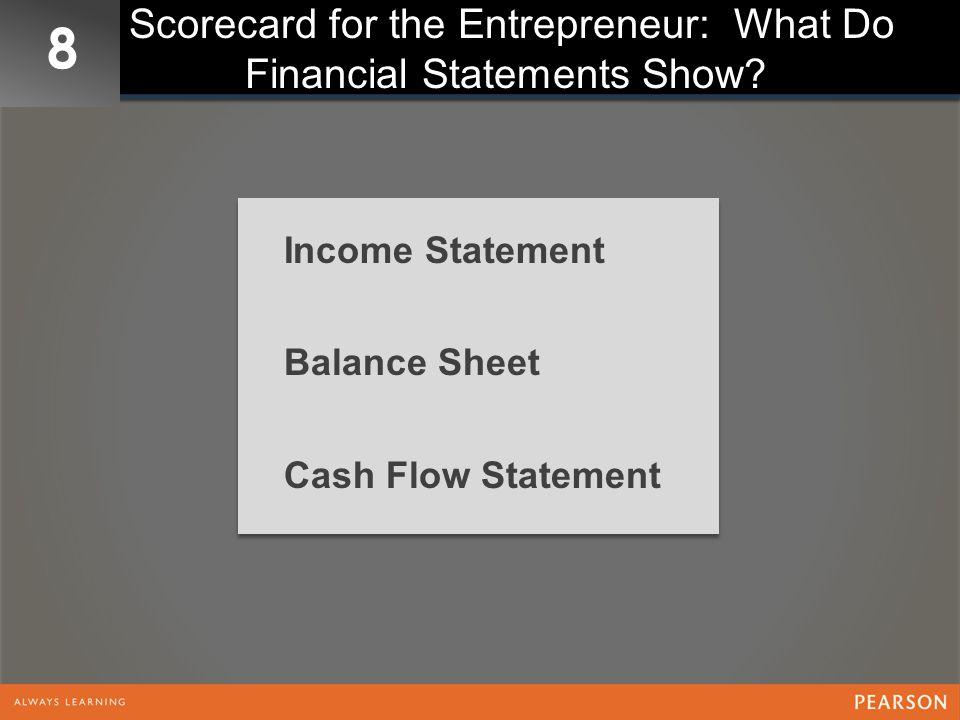 8 Scorecard for the Entrepreneur: What Do Financial Statements Show? Income Statement Balance Sheet Cash Flow Statement