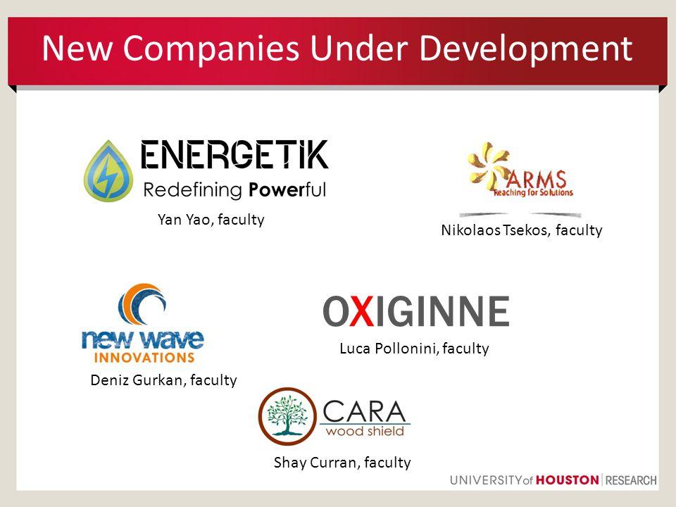New Companies Under Development Nikolaos Tsekos, faculty Luca Pollonini, faculty OXIGINNE Deniz Gurkan, faculty Yan Yao, faculty Shay Curran, faculty
