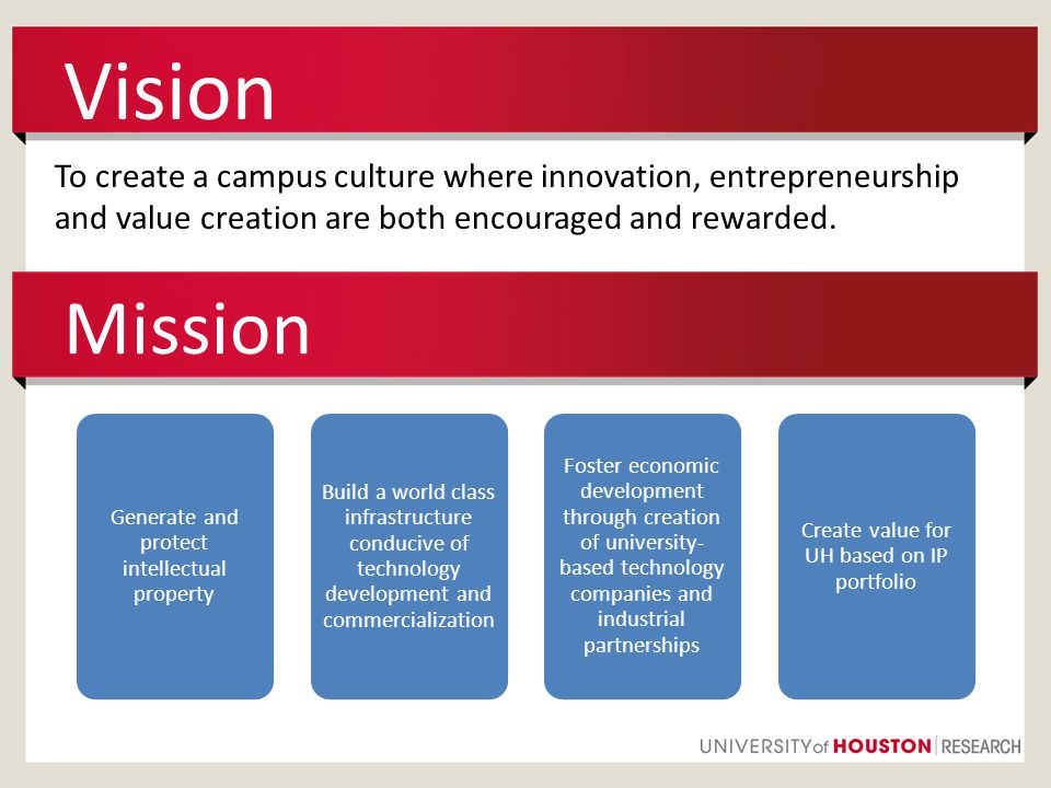 Vision To create a campus culture where innovation, entrepreneurship and value creation are both encouraged and rewarded.