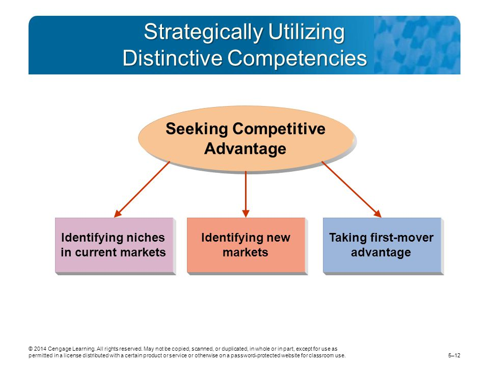 Strategically Utilizing Distinctive Competencies Identifying new markets Taking first-mover advantage Identifying niches in current markets Seeking Competitive Advantage © 2014 Cengage Learning.