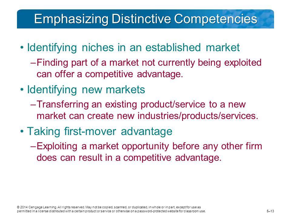 Emphasizing Distinctive Competencies Identifying niches in an established market –Finding part of a market not currently being exploited can offer a competitive advantage.