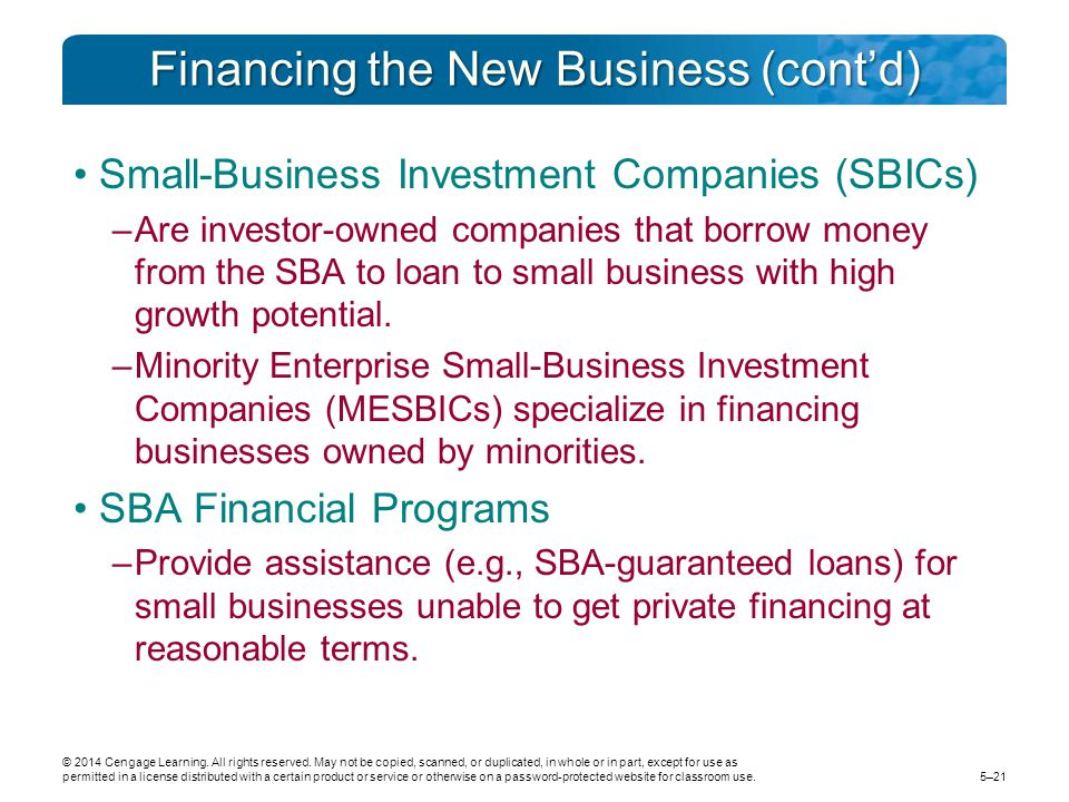 Financing the New Business (cont'd) Small-Business Investment Companies (SBICs) –Are investor-owned companies that borrow money from the SBA to loan to small business with high growth potential.