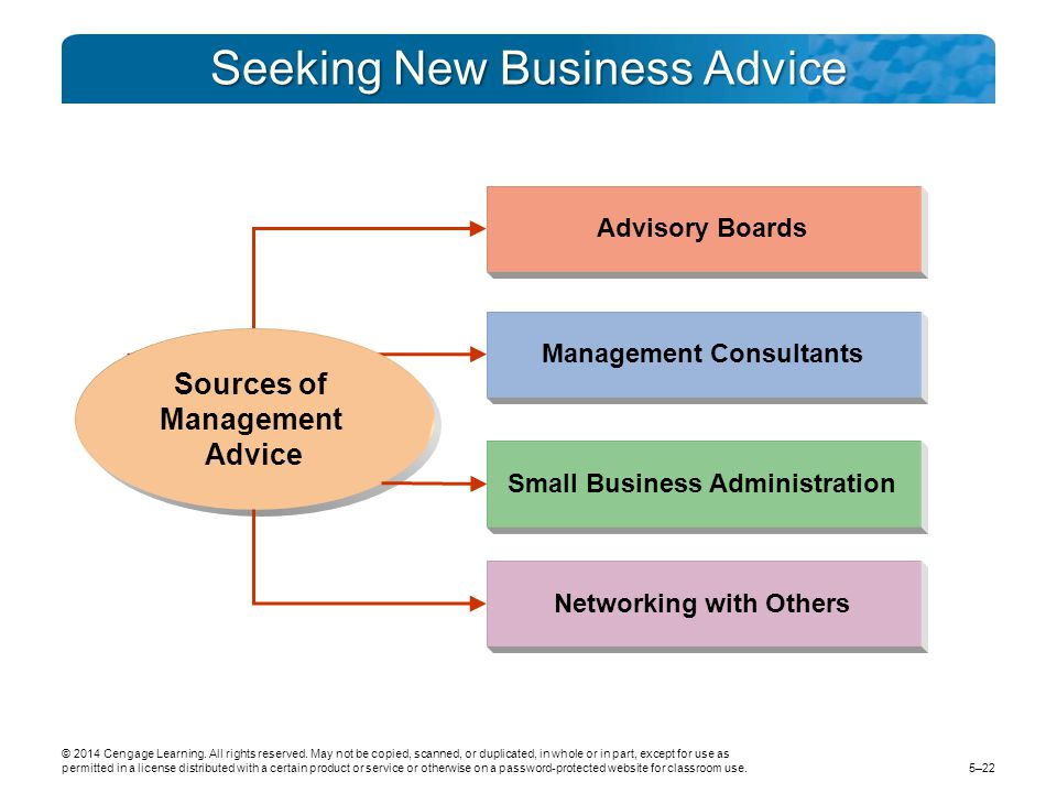 Seeking New Business Advice Advisory Boards Management Consultants Small Business Administration Networking with Others Sources of Management Advice ©