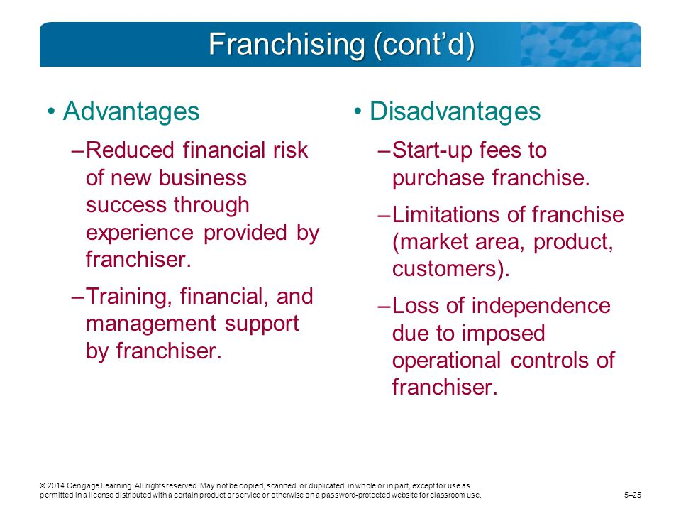 Franchising (cont'd) Advantages –Reduced financial risk of new business success through experience provided by franchiser. –Training, financial, and m