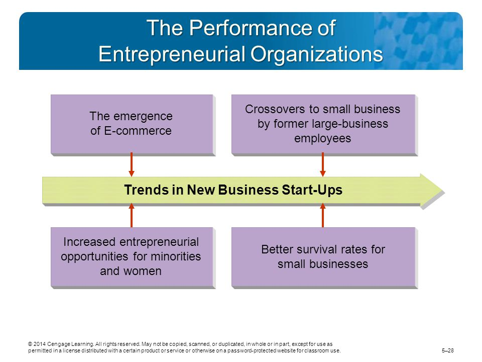 The Performance of Entrepreneurial Organizations Crossovers to small business by former large-business employees The emergence of E-commerce Trends in New Business Start-Ups Better survival rates for small businesses Increased entrepreneurial opportunities for minorities and women © 2014 Cengage Learning.