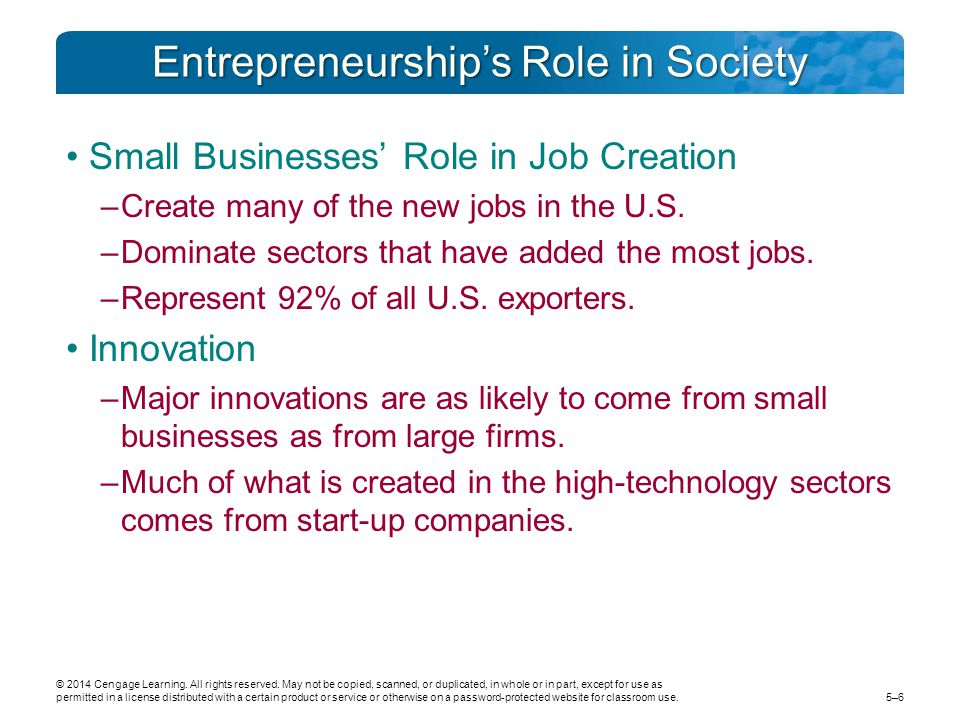 Entrepreneurship's Role in Society Small Businesses' Role in Job Creation –Create many of the new jobs in the U.S.