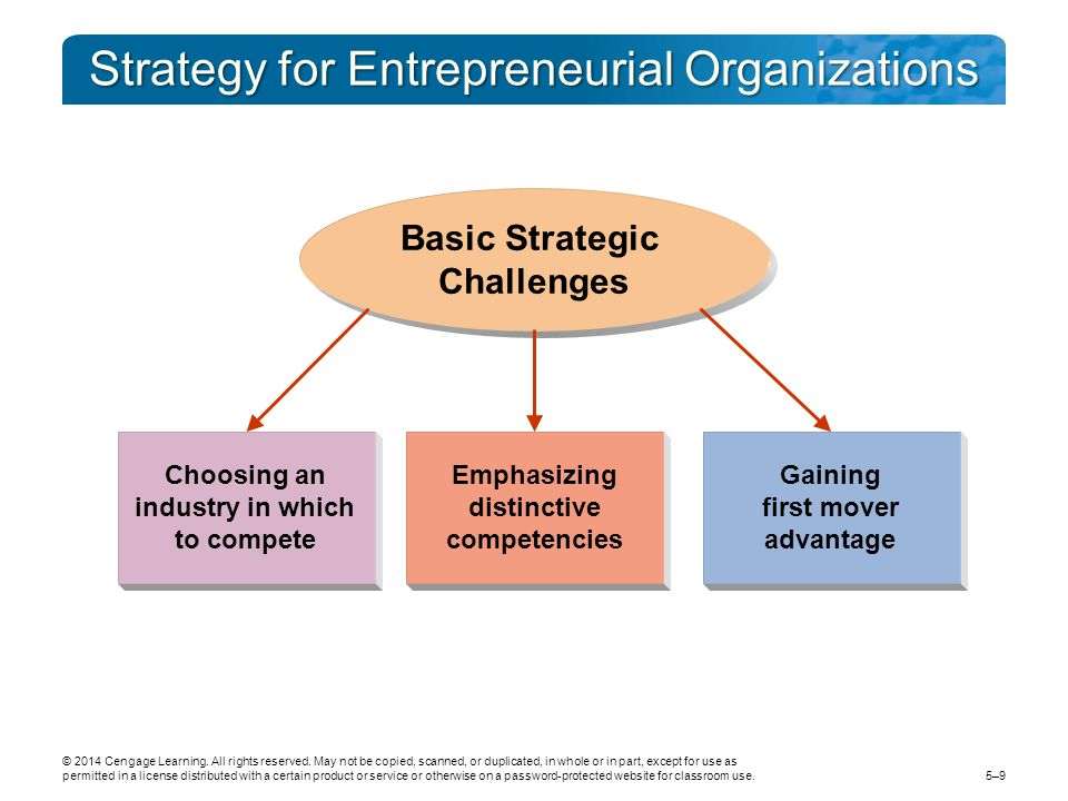 Strategy for Entrepreneurial Organizations 5–9 © 2014 Cengage Learning.