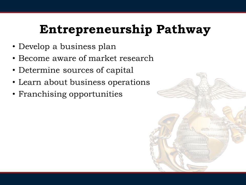 Entrepreneurship Pathway Develop a business plan Become aware of market research Determine sources of capital Learn about business operations Franchising opportunities