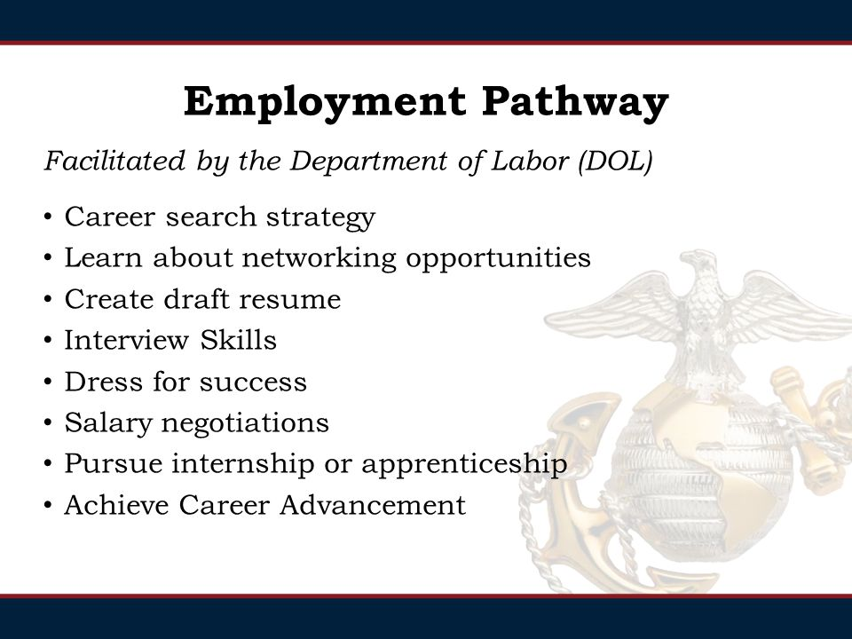 Employment Pathway Facilitated by the Department of Labor (DOL) Career search strategy Learn about networking opportunities Create draft resume Interview Skills Dress for success Salary negotiations Pursue internship or apprenticeship Achieve Career Advancement