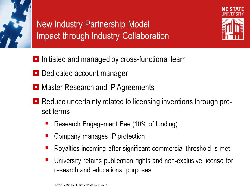 New Industry Partnership Model Impact through Industry Collaboration  Initiated and managed by cross-functional team  Dedicated account manager  Ma