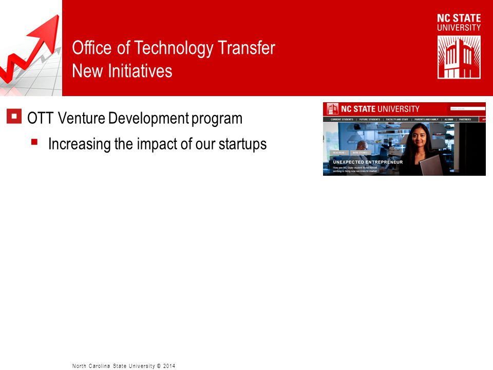  OTT Venture Development program  Increasing the impact of our startups  Blackstone Entrepreneur's Network  NC State, UNC-CH, NCCU, Duke, CED  En