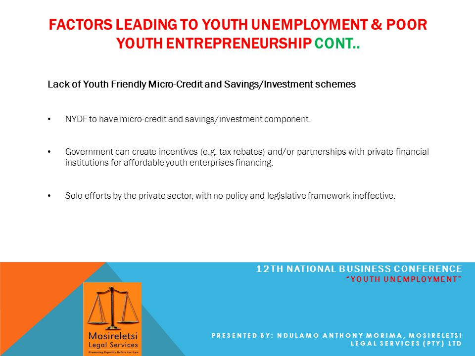 FACTORS LEADING TO YOUTH UNEMPLOYMENT & POOR YOUTH ENTREPRENEURSHIP CONT..