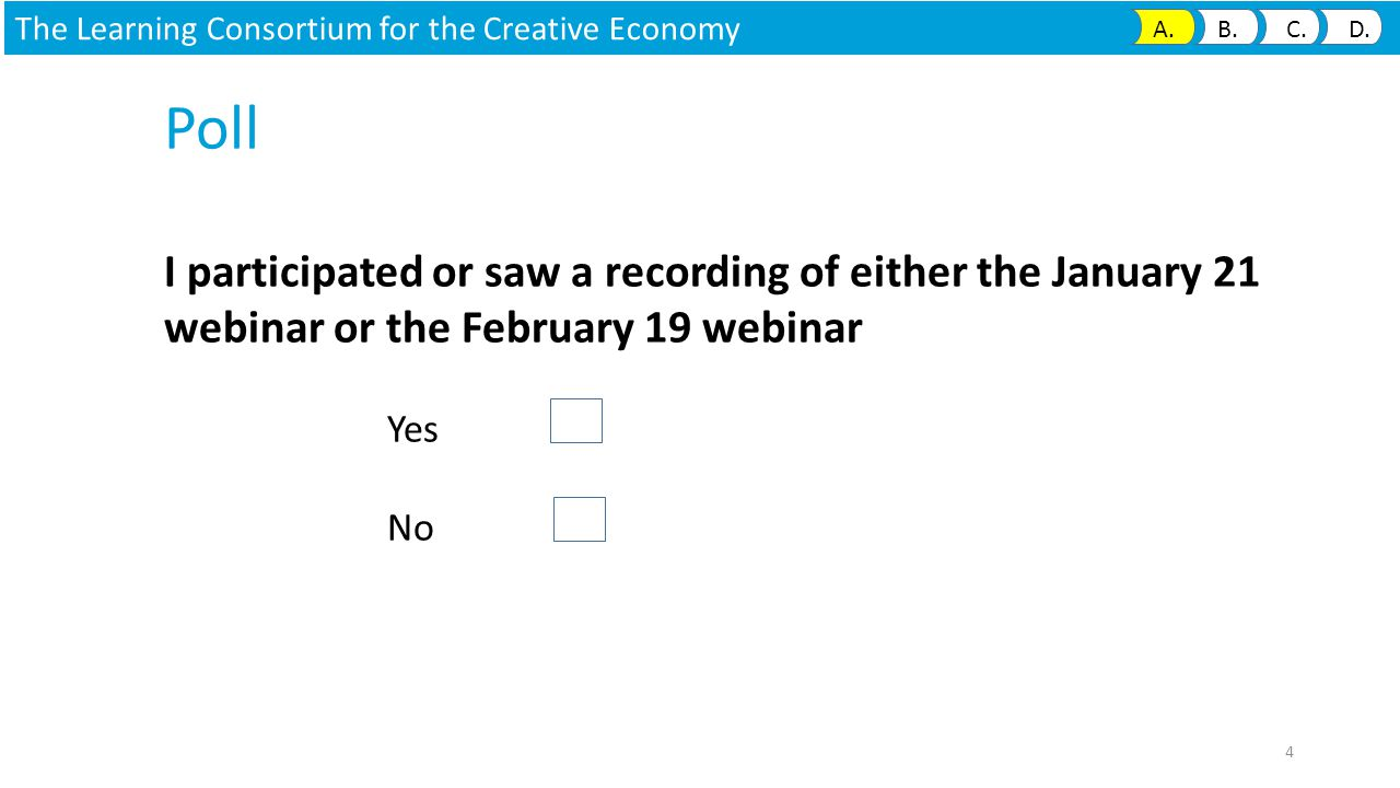 Poll I participated or saw a recording of either the January 21 webinar or the February 19 webinar Yes No The Learning Consortium for the Creative Economy A.