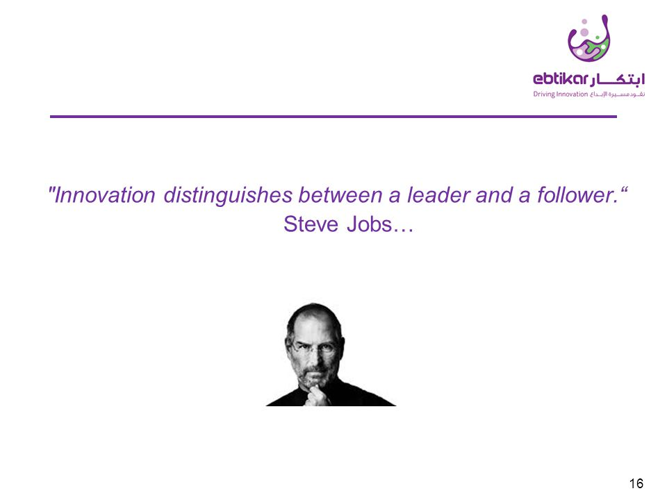 Innovation distinguishes between a leader and a follower. Steve Jobs… 16