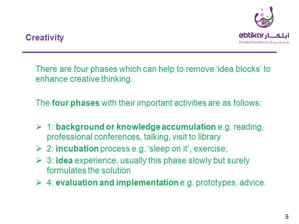 5 Creativity There are four phases which can help to remove 'idea blocks' to enhance creative thinking.