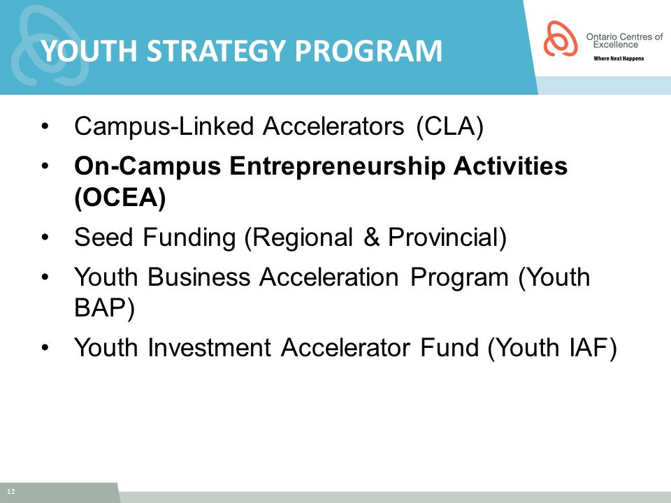 12 YOUTH STRATEGY PROGRAM Campus-Linked Accelerators (CLA) On-Campus Entrepreneurship Activities (OCEA) Seed Funding (Regional & Provincial) Youth Bus