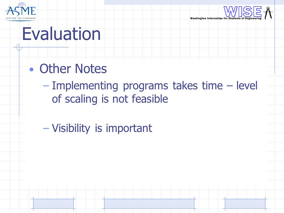 Evaluation Other Notes –Implementing programs takes time – level of scaling is not feasible –Visibility is important