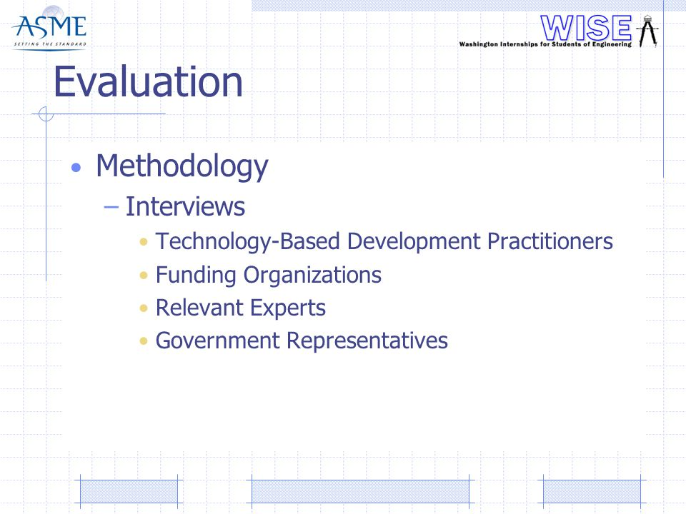 Evaluation Methodology –Interviews Technology-Based Development Practitioners Funding Organizations Relevant Experts Government Representatives