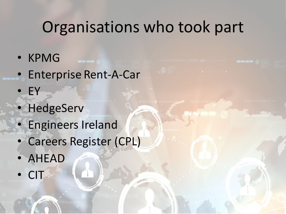 Organisations who took part KPMG Enterprise Rent-A-Car EY HedgeServ Engineers Ireland Careers Register (CPL) AHEAD CIT
