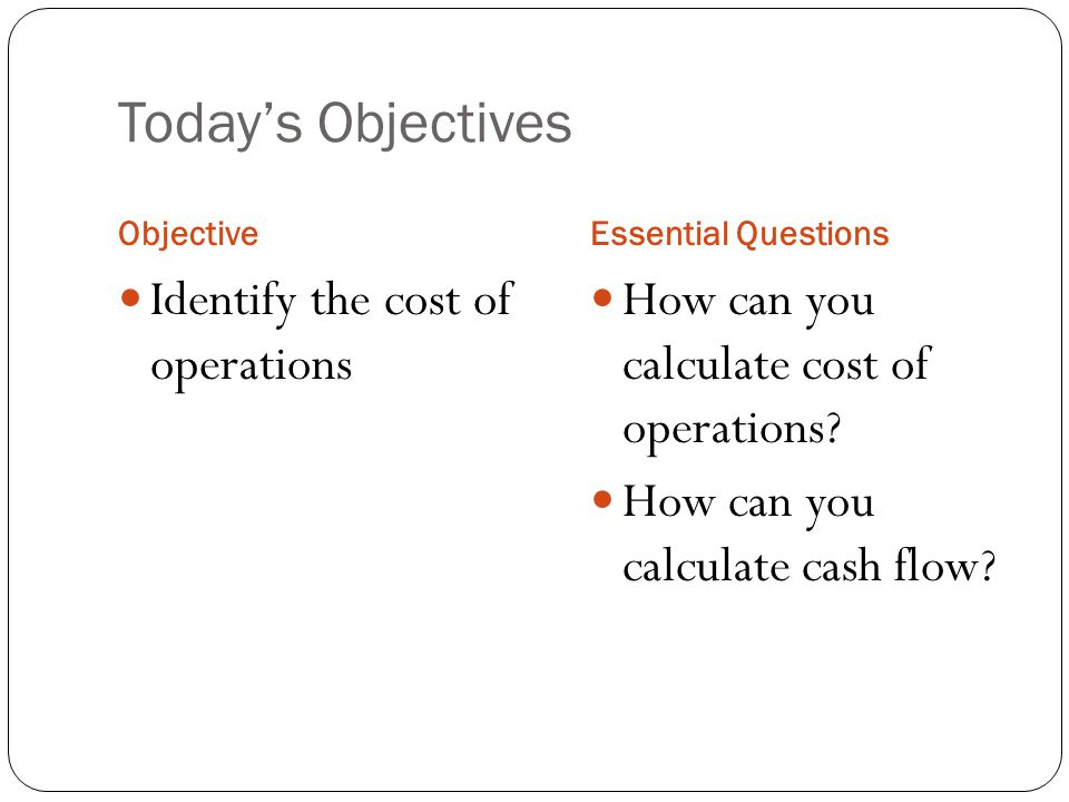 Costs The costs of starting and operating a business are divided into the following categories: 1.