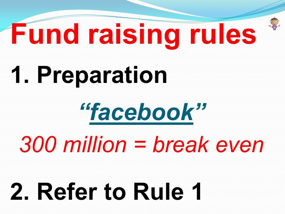 "Fund raising rules 1. Preparation ""facebook"" 300 million = break even 2. Refer to Rule 1"